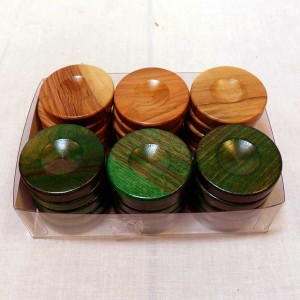 Handmade Wooden Checkers Green - solivewood.com