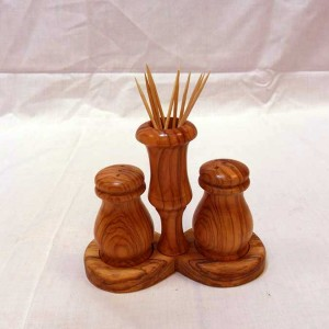 Salt & Pepper Set with Base and Toothpick Holder